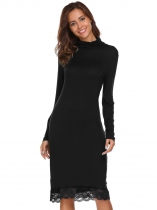 Black Long Sleeve Turtleneck Lace Trim Dress