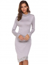 Gray Long Sleeve Turtleneck Lace Trim Dress