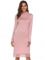 Pink Long Sleeve Turtleneck Lace Trim Dress