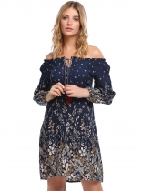 Navy blue Long Sleeve Floral Off Shoulder Loose Dress