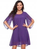 Purple Mujeres Casual Petal 3/4 manga sólida O cuello de gasa A-Line Dress