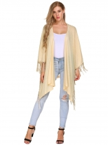 Apricot Solid Tassel Trim Open Front Cape Sleeve Long Cardigans