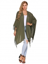 Army green Solid Tassel Trim Open Front Cape Sleeve Long Cardigans