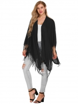 Black Solid Tassel Trim Open Front Cape Sleeve Long Cardigans
