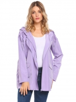 Purple Women Casual Hooded Lightweight Windproof Trench Coat Outdoor Rainjacket