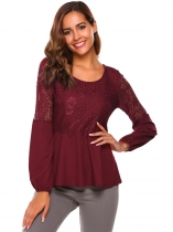 Wine red Long Sleeve Lace Patchwork Slim Fit Casual Tops