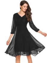 Black 3/4 Sleeve Solid Slim Flared Irregular Chiffon Dress