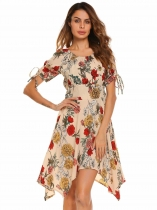 Khaki Short Sleeve Floral Print O Neck Asymmetrical Dress