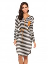 Black white Long Sleeve Notched Collar Striped Shift Dress with Belt