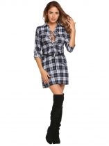 Navy blue Plaid Long Sleeve Turn Down Collar Shift Dress