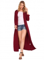 Wine red Women Casual Long Sleeve Waterfall Belted Duster Cardigan Coat Jacket