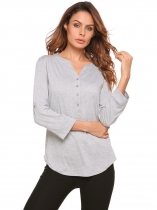 Light gray Solid V-Neck Adjustable Sleeve Front Button Tops