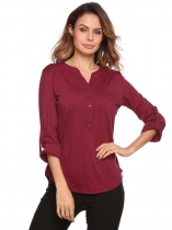 Wine red Solid V-Neck Adjustable Sleeve Front Button Tops