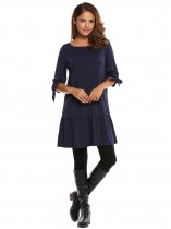 Navy blue Bleu marine Femmes Casual Robe à manches 3/4 Cravate manchette tunique