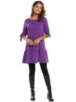 Purple Femmes Casual 3/4 Sleeve Tie Bracelet à volants Hem Tunic T Shirt Robe