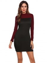 Black Color Block Stand Collar Long Sleeve Dress