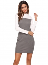 Dark gray Color Block Stand Collar Long Sleeve Dress