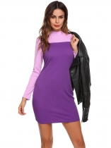Purple Púrpura Mujeres Slim Fit Color Bloque Mock Cuello manga larga Ribbed Bodycon vestido