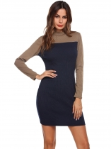 Azul marino Mujeres Slim Fit Color Bloque Mock Cuello manga larga Ribbed Bodycon vestido