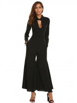 Black Women Long Sleeve Keyhole Flared Hem Wide Leg Solid Casual Jumpsuits with Belt