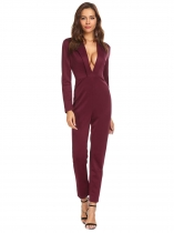 Wine red Women Deep V-Neck Long Sleeve Solid Casual Jumpsuits Rompers