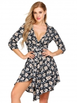 Navy blue 3/4 Sleeve Plunging Neck Floral Asymmetric Dress