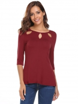 Vin rouge Vin Rouge Femmes Casual O-Neck Medium Sleeve Solid Hollow Out Back Button T-shirt sexy
