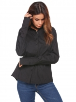 Black Long Sleeve Slim Solid Basic Button Down Shirt