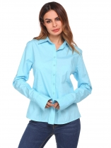 Blue Long Sleeve Slim Solid Basic Button Down Shirt
