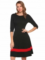 Women Round Neck 3/4 Sleeve Mesh Patchwork Fit et Flare Casual Dress
