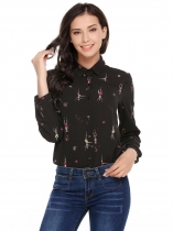 Black Print Turn-down Collar Buttoned Asymmetrical Hem Shirts