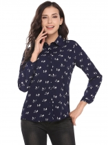 Dark blue Print Turn-down Collar Buttoned Asymmetrical Hem Shirts