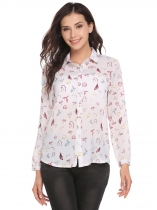White Print Turn-down Collar Buttoned Asymmetrical Hem Shirts