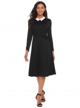 Negro Negro Mujeres Peter Pan Collar Twist Front manga larga Fit y Flare Party Dress