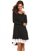 Black Lace Patchwork High Low Hem Dress