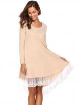 Apricot Lace Patchwork High Low Hem Dress