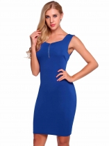 Royal Blue Sleeveless Solid Square Neck Bodycon Pencil Dress