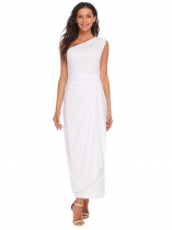 White One Shoulder Ruched Waist Slim Fit Asymmetrical Maxi Wedding Dress