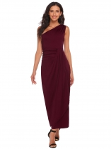 Wine red One Shoulder Ruched Waist Slim Fit Asymmetrical Maxi Wedding Dress