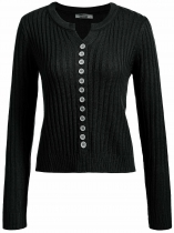 Black Long Sleeve Solid Slim Notched Collar Soft Knit Sweater