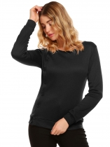 Black Solid Buttoned O-Neck Long Sleeve Slim Sweatshirts