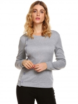 Light gray Solid Buttoned O-Neck Long Sleeve Slim Sweatshirts