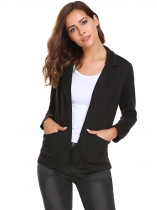 Black Solid Long Sleeve Slim Fit Welt Blazer Coats