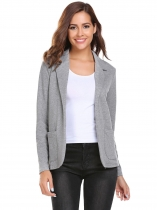 Grey Solid Long Sleeve Slim Fit Welt Blazer Coats
