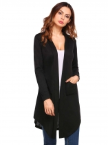 Black Solid Pockets Open Front Long Sleeve Knit Cardigan