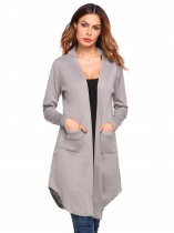 Grey Solid Pockets Open Front Long Sleeve Knit Cardigan