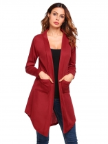 Wine red Solid Pockets Open Front Long Sleeve Knit Cardigan