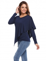 Navy blue Long Sleeve V Neck Solid Ruched Pullover Tops