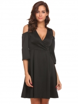 Black Women V-Neck Cold Shoulder 3/4 Sleeve Solid Fit and Flare Party Dress