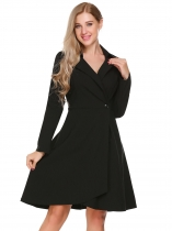 Black Long Sleeve Solid One Button Dress
